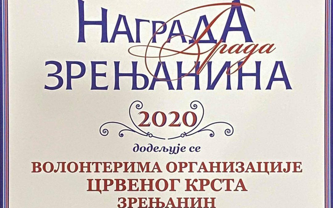 Награда града Зрењанина за 2020. годину волонтерима Црвеног крста Зрењанин